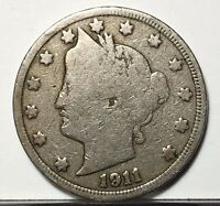 1911 LIBERTY V NICKEL U.S. COIN  FREE BUBBLE SHIPPING WITH TRACKING