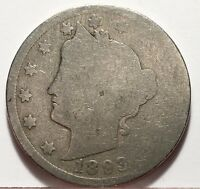 1893 LIBERTY V NICKEL U.S. COIN  FREE BUBBLE SHIP W TRACKING