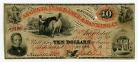 1860 $10 THE AUGUSTA INSURANCE & BANKING CO.   GEORGIA NOTE W/ SLAVE