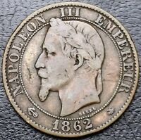 FRANCE: 1862 5 CENTIMES COIN NAPOLEAN III KM 797 GAD 155   FREE COMBINED S/H