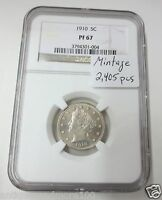 1910 PROOF LIBERTY V-NICKEL NGC PF-67 INVESTMENT GRADE MINTAGE: 2405 PCSLOW