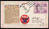 NIRA IOWA 1933 FDC NRA BLK 4 STAMPS, NRA LABEL  CLIPPING ABOUT NEW STAMPS