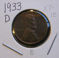 1933 D EXTRA FINE WITH SHARP STRIKE LINCOLN WHEAT CENT  12  YOU GRADE IT