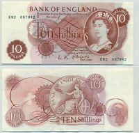 GREAT BRITAIN NOTE 10 SHILLINGS 1960 1 SIGN O'BRIEN P 373A AXF