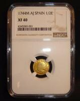1744 M AJ SPAIN 1/2 ESCUDO GOLD COIN NGC XF40 TONED  COLOR