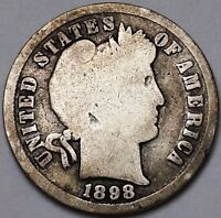 1898 BARBER 90 SILVER DIME 10 CENTS   FREE COMBINED S/H