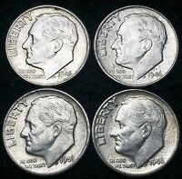 LOT OF 4 1946 ROOSEVELT 90 SILVER DIMES   10 CENTS