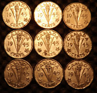LOT OF 9 CANADA COINS 5 CENT 1945 WORLD WAR II VICTORY.