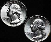 HHC WASHINGTON SILVER QUARTER LOT OF 2 1964 1964 D LUSTROUS SKU US1 138