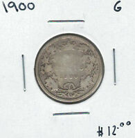 CANADA 1900 SILVER 25 CENTS G LOT3