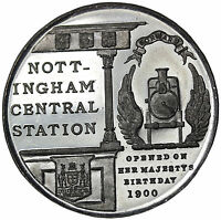 1900 OPENING OF THE CENTRAL NOTTINGHAM TRAIN STATION MEDAL JESSOP & SONS ENGLAND
