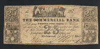 25 COMMERCIAL BANK 1862 RICHMOND VA OLD CONFEDERATE OBSOLETE BILL CS PAPER NOTE