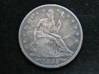 1855 S 50C ARROWS LIBERTY SEATED HALF DOLLAR  KEY DATE SHARP DETAIL DAMAGED