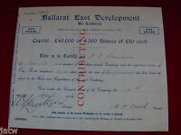 AUSTRALIA   SHARE SCRIP. 1935 BALLARAT EAST DEVELOPMENT N/L.. GOLD VICTORIA