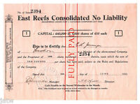 AUSTRALIA   SHARE SCRIP. 1935 EAST REEFS CONSOLIDATED N/L.. FOR FIJI REG VIC