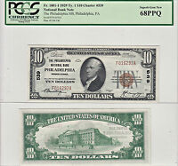 1929 $10 PHILADELPHIA NATIONAL BANK PA CHARTER  539  PCGS GEM NEW 68 PPQ