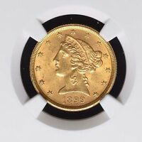1899 $5 GOLD LIBERTY HEAD HALF EAGLE NGC MS62 TYPE 2 WITH MOTTO