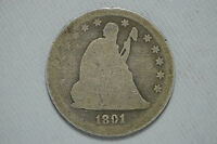 1891 SEATED LIBERTY SILVER QUARTER UNITED STATES 90 SILVER CN3025