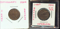 WORLD COINS NETHERLANDS 1900 1904 1 CENT MID GRADES 2G701 Z