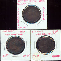 CANADA NEW BRUNSWICK 1843 1854 1864 HALF PENNY EF 2G729 SUPER LOT