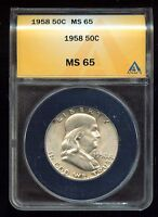 1958 FRANKLIN HALF DOLLAR ANACS CERTIFIED   MS 65   3G682