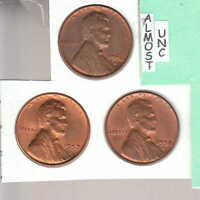 1956D 1957D 1958D   3   AU TO BU LINCOLN CENTS  SUPERB  RS COINS SHIPS FREE2197