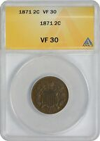 1871 TWO CENT PIECE VF30 ANACS  FINE 30