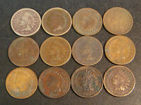 12 INDIAN HEAD CENTS 1859 1863 1864BR 1865 1868 1881 1882 1883 1886 1894 04 1909