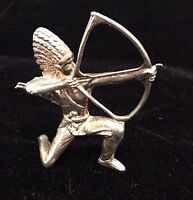 STERLING SILVER BRAVE SHOOTING BOW AND ARROW  .925 1970'S
