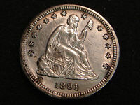 1891 S SEATED LIBERTY QUARTER AU UNC DETAILS   OBVERSE CLEANED