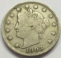 1903 LIBERTY V NICKEL  U.S. COIN  FREE BUBBLE SHIPPING WITH TRACKING