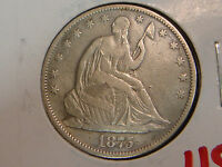 1875 LIBERTY SEATED HALF DOLLAR VF DETAILS   CLEANED