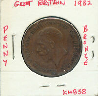 WORLD COINS GREAT BRITAIN 1932 PENNY G611