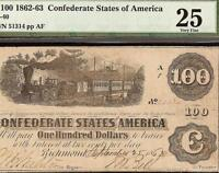 1862 63 $100 DOLLAR BILL CONFEDERATE STATES CURRENCY CIVIL WAR NOTE T 40 PMG 25