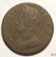 1749 HALFPENNY MADE FOR THE AMERICAN COLONIES VF DETAILS C487