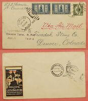 C4 ON 1925 619 LEXINGTON CONCORD FDC COVER CONCORD MA AIRMAIL TO DENVER CO