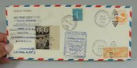 ANTIQUE 1938 HOWARD HUGHES ROUND-THE-WORLD AIRPLANE STAMPS ENVELOPE COVER