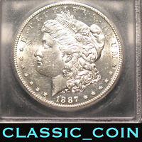 1887-S MORGAN SILVER DOLLAR $1 ICG AU58  DATE 130 YEARS OLD FREE S/H