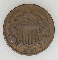 1867 VG COND TWO 2 CENT PIECE.  COLOR AND STRIKE - I-7570 F