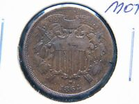 1864 2C SMALL MOTTO BN TWO CENT PIECE  KEY DATE SHARP DETAIL NICKS
