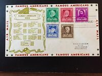 US FAMOUS AMERICANS FDC COMBINATION 10 RILEY GREENFIELD IND CANCEL 1940