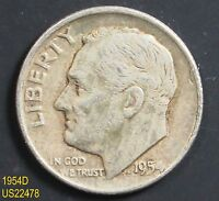 1954 D ROOSEVELT CIRCULATED SILVER DIME