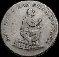 CONDER HALFPENNY TOKEN AM I NOT A MAN AND A BROTHER 1790'S SKU F673