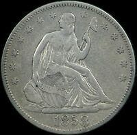 1858 SEATED LIBERTY HALF DOLLAR  BOLD REPUNCHED DATE RPD  WB 104 VF