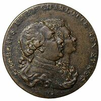 1790'S MIDDLESEX KING GEORGE III & CHARLOTTE FARTHING CONDER TOKEN DH 1137