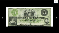 BARE BREASTED LADIES OF NEW BRUNSWICK NJ  STATE BANK AT NEW BRUNSWICK $3 1800'S