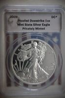 KAPPYSCOINS PROOF  2009 DANIAL CARR PROOFED OVERSTRIKE SILVER EAGLE DOLLAR
