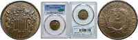 1867 TWO CENT PIECE PCGS MINT STATE 65 BN CAC