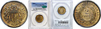 1864 LARGE MOTTO TWO CENT PIECE PCGS MINT STATE 65 RB CAC