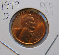 1949 D RED BU UNCIRCULATED  LINCOLN WHEAT CENT 4 BUT YOU GRADE IT